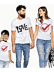 abordables -Regard de la famille Actif Basique Graphique Lettre Imprimé Manches Courtes Normal Tee-shirts Blanche