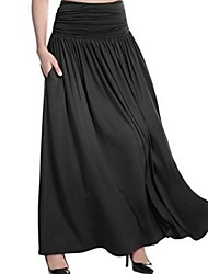 cheap -Women's Maxi A Line Skirts - Solid Colored Black Fuchsia Light gray S M L