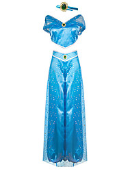 cheap -Princess Princess Jasmine Cosplay Costume Outfits Women's Movie Cosplay Cosplay Halloween Blue Top Pants Children's Day Masquerade Tulle Polyester
