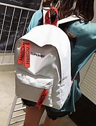 Недорогие -Большая вместимость Нейлон Узоры / принт рюкзак Сплошной цвет Школа Белый / Черный / Синий