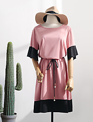 cheap -Women's A-Line Dress - Short Sleeves Solid Color Ruffle Summer Casual Elegant Daily Going out 2020 Blushing Pink L XL XXL XXXL XXXXL