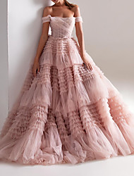 cheap -Ball Gown Wedding Dresses Off Shoulder Sweep / Brush Train Tulle Short Sleeve Formal Wedding Dress in Color with Ruched Cascading Ruffles 2020