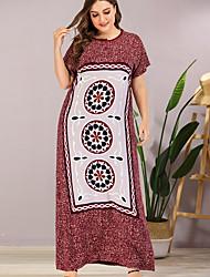cheap -Women's Sheath Dress Maxi long Dress - Short Sleeves Print Summer Elegant 2020 Red L XL XXL XXXL