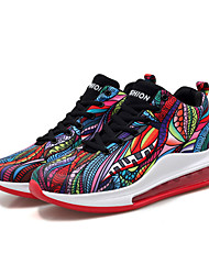 cheap -Men's Summer Sporty Athletic Trainers / Athletic Shoes Basketball Shoes PU / Elastic Fabric Non-slipping Black / Rainbow Color Block