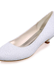 cheap -Women's Wedding Shoes Kitten Heel Round Toe Sweet Wedding Party & Evening Synthetics Sequin Solid Colored Summer White