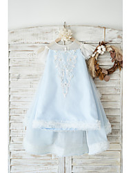 cheap -A-Line Knee Length Wedding / Birthday Flower Girl Dresses - Tulle Cap Sleeve Jewel Neck with Pearls / Appliques