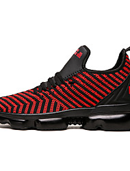 cheap -Men's Spring & Summer Sporty Athletic Trainers / Athletic Shoes Running Shoes PU / Elastic Fabric Non-slipping Black and White / Black / Red / Red Color Block