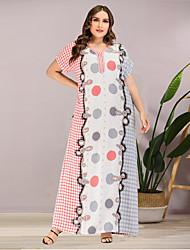 cheap -Women's A-Line Dress Maxi long Dress - Short Sleeves Polka Dot Summer Casual Mumu 2020 Blushing Pink L XL XXL XXXL