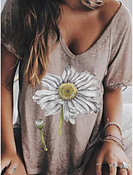 preiswerte -Damen Blumen T-shirt Alltag Grau