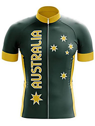 cheap -21Grams Men's Short Sleeve Cycling Jersey Summer Polyester Black / Yellow Australia Austria National Flag Bike Jersey Top Mountain Bike MTB Road Bike Cycling UV Resistant Quick Dry Breathable Sports