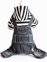 cheap -Dog Hoodie Jumpsuit Winter Dog Clothes Gray Costume Cotton Stripes Jeans Fashion XS S