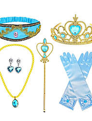 cheap -Princess Crown Outfits Masquerade Girls' Movie Cosplay Cosplay Halloween Blue Gloves Crown Earrings Halloween Carnival Masquerade Cloth Plastic / Headwear / Necklace / Wand / Necklace / Headwear
