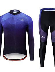 cheap -Miloto Men's Long Sleeve Cycling Jersey with Tights Black / Blue Bike Breathable Sports Patterned Mountain Bike MTB Road Bike Cycling Clothing Apparel / Stretchy