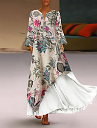 Недорогие -Жен. Большие размеры Макси С летящей юбкой Платье - Длинный рукав Контрастных цветов V-образный вырез Белый Желтый M L XL XXL XXXL XXXXL XXXXXL