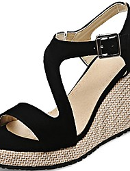 cheap -Women's Sandals Summer Wedge Heel Open Toe Daily Suede Black / Pink / Gray