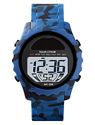 cheap -SKMEI Men's Digital Watch Solar Energy Modern Style Sporty Camouflage Alarm Digital Black Blue Green / One Year / Silicone / Calendar / date / day / Chronograph / Stopwatch