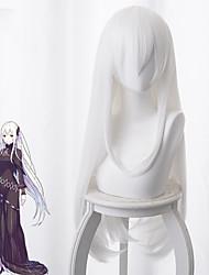 cheap -Re:Zero Starting Life in Another World kara hajimeru isekai seikatsu Cosplay Wigs Women's Asymmetrical 35 inch Heat Resistant Fiber kinky Straight White Adults' Anime Wig