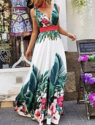cheap -Sheath / Column Maxi Floral Holiday Prom Dress V Neck Sleeveless Floor Length Stretch Satin with Pattern / Print 2021