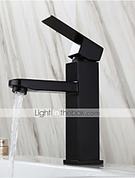cheap -Stainless Steel Black Wash Basin Faucet Hot And Cold European Style Paint Baking Bathroom Square Single Hole Basin Faucet