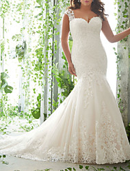 cheap -Mermaid / Trumpet Wedding Dresses Sweetheart Neckline Sweep / Brush Train Lace Tulle Sleeveless Romantic with Embroidery 2021