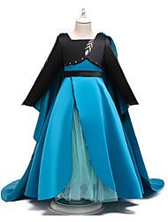 cheap -Kids Toddler Girls' Active Sweet Patchwork Patchwork Long Sleeve Midi Dress Blue