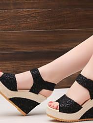 cheap -Women's Sandals Wedge Sandals Summer Wedge Heel Peep Toe Daily PU Black / Gold