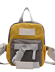 Недорогие -Большая вместимость Полиэстер холст Молнии рюкзак Контрастных цветов Школа Черный / Желтый / Розовый