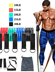 cheap -Resistance Band Set 11 pcs Sports TPE Pilates Exercise & Fitness Gym Workout Heavy-duty Carabiner Adjustable Durable Resistance Training Myofascial Release, Trigger Point Therapy, Muscle Knots, and
