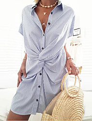 cheap -Women's Shirt Dress - Short Sleeves Striped Ruched Patchwork Summer Boat Neck Casual Street chic Daily Going out Batwing Sleeve Belt Not Included Loose 2020 Black Red Green Navy Blue S M L XL