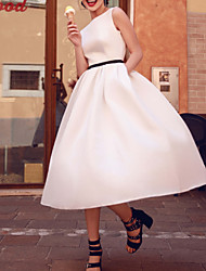 cheap -A-Line Wedding Dresses Jewel Neck Tea Length Satin Sleeveless Simple Vintage 1950s with Sashes / Ribbons 2020