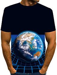 Недорогие -Муж. Графика 3D-печати Черный С принтом Футболка Классический преувеличены Повседневные Круглый вырез Черный / С короткими рукавами