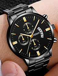 cheap -Men's Steel Band Watches Quartz Modern Style Stylish Casual Calendar / date / day Analog Golden / Brown Black / Silver Black+Gloden / One Year / Stainless Steel / Large Dial
