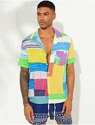 cheap -Men's Color Block Shirt Daily Button Down Collar Purple / Yellow / Orange / Short Sleeve