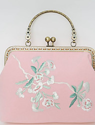 cheap -Women's Bags Polyester Evening Bag Chain Embroidery Floral Print Wedding Bags Wedding Party Event / Party Blue Blushing Pink Beige