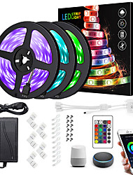 cheap -15M(3x5m) Wifi LED Light Strips RGB Tiktok Lights Controller Power WiFi Wireless Smart Phone Control LED Kit 5050 10mm LED Lights 900 LEDs 5050 SMD Waterproof IP65 Flexible Light DC 12V Strip Lamp