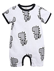cheap -Baby Boys' Active Basic Dinosaur Solid Colored Short Sleeves Romper White