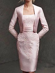 cheap -Two Piece Sheath / Column Mother of the Bride Dress Elegant Square Neck Knee Length Lace Satin Long Sleeve with Embroidery 2020