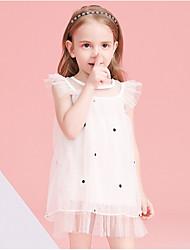 abordables -Enfants Fille Géométrique Robe Blanche