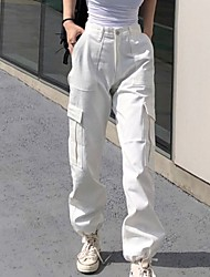 cheap -Women's Basic Loose Chinos Pants - Solid Colored White Black Blushing Pink S / M / L