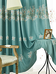 cheap -Two Panel Korean Pastoral Style Embroidered Curtains Living Room Bedroom Study Curtains
