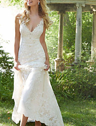 cheap -A-Line Wedding Dresses V Neck Watteau Train Lace Sleeveless Sexy Backless with Embroidery 2020