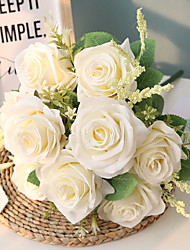cheap -44cm 9 Heads And 6 Colors Bouquet Of Roses Wedding Home Decoration Simulation Flower 1 Bunch