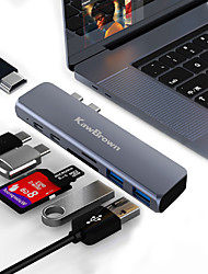 cheap -KawBrown 7 in 1 Dual USB-C HUB Type-C Hub Adapter USB-C to HDMI SD/TF Card Reader PD Charging 4K HD for MacBook Pro