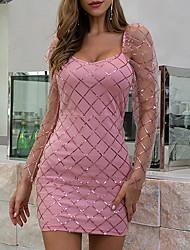 cheap -Women's Bodycon - Long Sleeve Print Zipper Summer Glitters Mumu Daily Going out Flare Cuff Sleeve 2020 Blushing Pink Beige S M L