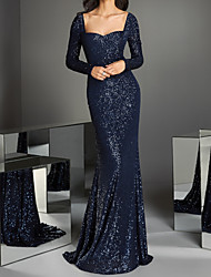 cheap -Mermaid / Trumpet Sparkle Elegant Engagement Prom Dress Scoop Neck Long Sleeve Sweep / Brush Train Sequined with Pleats Sequin 2021