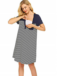 cheap -Women's Shift Dress Knee Length Dress - Short Sleeves Striped Summer Casual 2020 Black Navy Blue S M L XL XXL