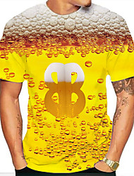 cheap -Men's Graphic Beer Print T-shirt Basic Daily Round Neck Blue / Red / Yellow / Gold / Short Sleeve