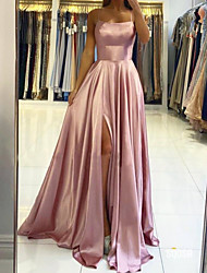 cheap -A-Line Beautiful Back Sexy Engagement Prom Dress Halter Neck Sleeveless Sweep / Brush Train Charmeuse with Pleats Split 2020