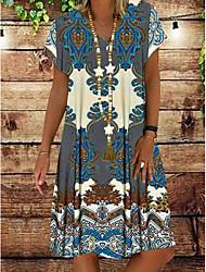 cheap -Women's Shift Dress Knee Length Dress - Short Sleeves Tribal Print Summer V Neck Casual Holiday Vacation 2020 Red Yellow Khaki Green Gray S M L XL XXL XXXL XXXXL XXXXXL