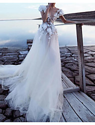 cheap -A-Line Wedding Dresses Plunging Neck Court Train Lace Tulle Cap Sleeve Beach Sexy See-Through Backless with Appliques 2021